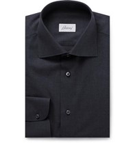 Brioni Storm Blue Cotton Shirt Storm Blue