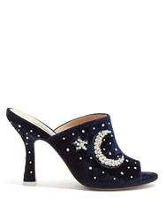 Attico Moon And Star Embellished Moire Mules Navy
