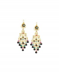 Jose And Maria Barrera Dyed Jade Crystal Filigree Chandelier Earrings Multi