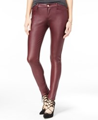 Celebrity Pink Juniors' Coated Ponte Knit Skinny Jeans Burnt Red