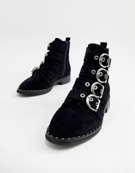 Pimkie Buckle Detail Studded Boots Black