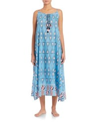 Lalesso Chote Silk And Cotton Dress Blue