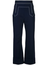 Khaite Stitch Detail Flared Trousers Blue