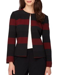 Tahari By Arthur S. Levine Striped Long Sleeve Open Front Jacket Red Black