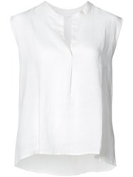 Majestic Filatures Cut Neck Sleeveless Blouse Women Linen Flax 2 White