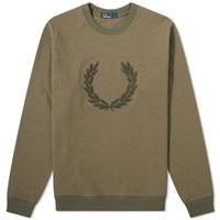 Fred Perry Laurel Wreath Applique Sweat Green