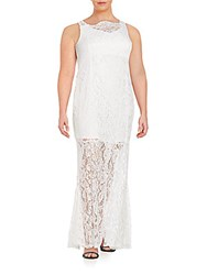 Marina Plus Size Corded Lace Sheath Gown Ivory