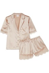 Cami Nyc Sahar Lace Trimmed Stretch Silk Charmeuse Pajama Set Ecru