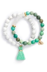 Love's Affect Women's Set Of 2 Semiprecious Stone Tassel Bracelets Turquoise