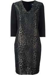 Class Roberto Cavalli Animalier Jacquard V Neck Dress Black