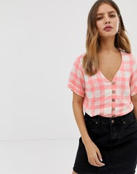 New Look Shirt With Button Through In Check Multi
