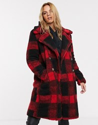 Qed London Teddy Coat With Double Button Detail In Check Print Multi