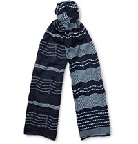 Missoni Patterned Cotton Scarf Navy