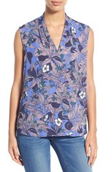 Women's Halogen Pleat V Neck Shell Blue Teal Floral Print
