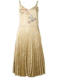 Red Valentino Pleated Embroidered Dress Metallic