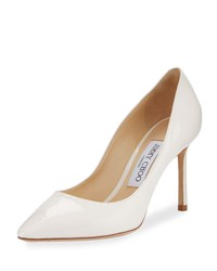 Jimmy Choo Romy Patent Pointed Toe 85Mm Pump Nude White
