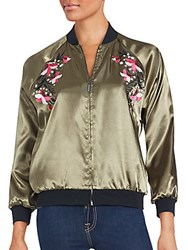 Saks Fifth Avenue Red Embroidered Long Sleeve Jacket Olive