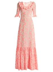 The Vampire's Wife Gloria Ruffle Trimmed Floral Fil Coupe Gown Pink Print