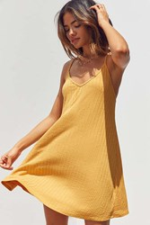 Silence And Noise Wide Ribbed Knit Slip Dress Mustard