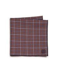 Hook Albert Plaid Cotton Pocket Square Navy Red