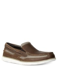Gbx Element Leather Double Gore Slip On Boat Shoes Tan