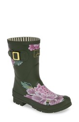 Joules Print Molly Welly Rain Boot Grape Leaf