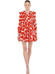 Msgm Heart Printed Crepe Mini Dress White Red