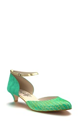 Shoes Of Prey Ankle Strap D'orsay Pump Women Turquoise Gold Snake