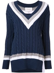 Public School Cable Knit V Neck Jumper Women Silk Cotton Nylon Xs Blue