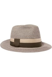 Eres Leone Grosgrain Trimmed Woven Paper Hat Gray