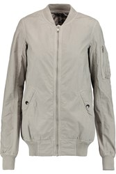 Rick Owens Coated Cotton Shell Bomber Jacket Gray