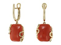 Miseno Sea Leaf Yellow Gold Cushion Cut Earrings Coral Yellow Gold Earring Red