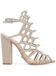 Schutz Block Heel Caged Sandals Grey