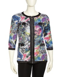 Michael Simon Short Sleeve Sequined Knit Cardigan Multi