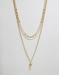 Ashiana Multi Layered Necklace With Coral Stone Gold Coral