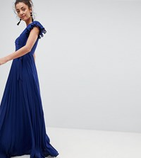 Asos Tall Pleated Maxi Dress With Flutter Sleeve Navy