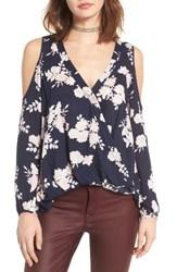 Lush Women's Surplice Cold Shoulder Blouse Navy Blush