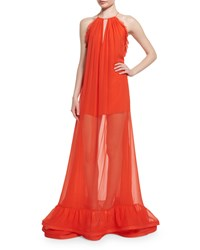 Alexis Gracie Sleeveless Long Sheer Maxi Dress Red Orange Women's