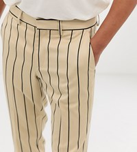 Heart And Dagger Skinny Smart Trouser In Stone Pinstripe