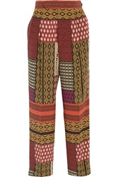 Etro Printed Silk Wide Leg Pants Red