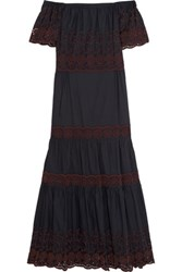 See By Chloe Off The Shoulder Broderie Anglaise Cotton Maxi Dress Navy
