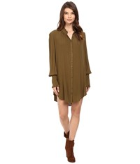Free People Lieutenant Shirtdress Mini Olive Women's Dress