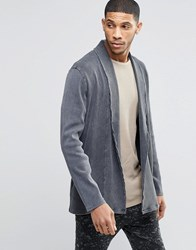 Asos Super Longline Cardigan In Heavy Rib With Acid Wash Grey