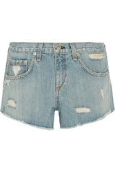 Rag And Bone Boyfriend Studded Distressed Denim Shorts Light Denim