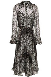 Mikael Aghal Woman Leopard Print Voile Midi Dress Animal Print