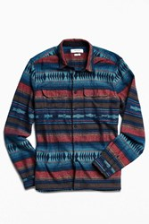 Urban Outfitters Uo Blanket Jacquard Two Pocket Work Shirt Navy