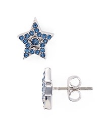 Marc Jacobs Tiny Pave Star Stud Earrings Blue Silver