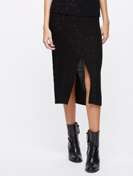 Jigsaw Sparkle Knitted Slit Skirt Black