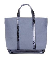 Vanessa Bruno Cabas Medium Embellished Canvas Shopper Grey