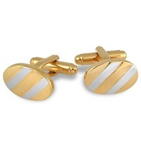 A Z Collection Gold And Silver Plated Oval Cufflinks